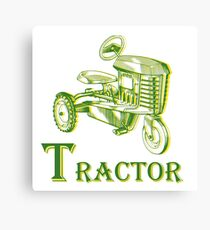 T is for Tractor Canvas Print