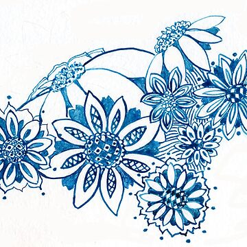 Blue and White Flowers Watercolor by Naquaiya