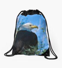 bald eagle watching Drawstring Bag
