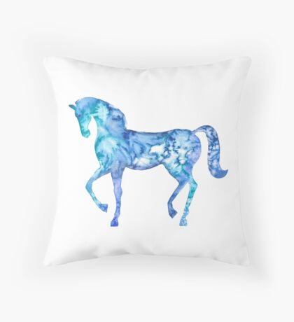Blue horse in my dreams Throw Pillow