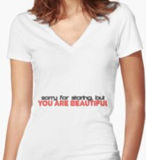 You are Beautiful Women's Fitted V-Neck T-Shirt