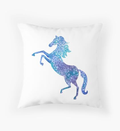 Majestic blue horse - surrealist painting Throw Pillow