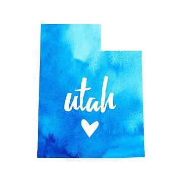 Utah - blue watercolor by gracehertlein