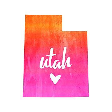 Utah - pink and orange watercolor by gracehertlein