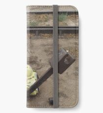 Abandoned Switch, Abandoned Freight Rails, Albuquerque, New Mexico iPhone Wallet/Case/Skin