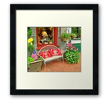 store front bench Framed Print