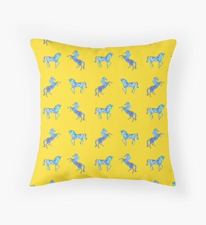 Happy summer horses Throw Pillow