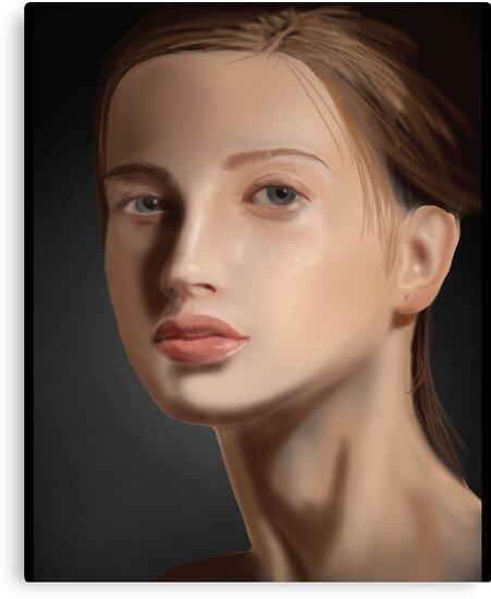 Beautiful Girl Portrait Painting by masterofthekey