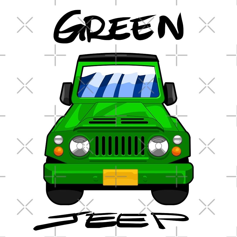 Green Jeep - Car Drawing by Elkin Grueso