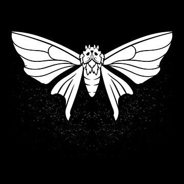 Wither Moth (B&W) by RedTideCreative