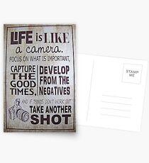 """Postales """"La vida es como una cámara"""""""