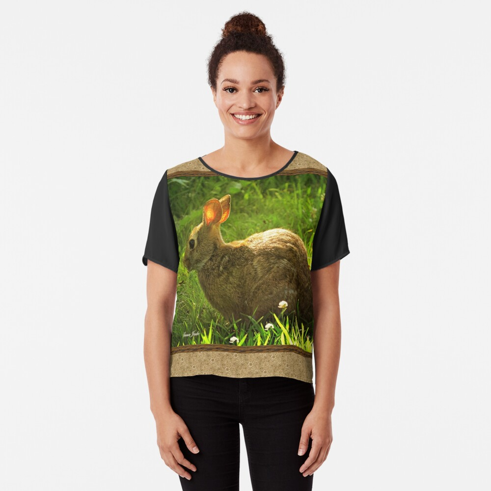 Wild Bunny ~ In a Patch of Clover Chiffon Top