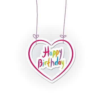Happy birthday. pink heart on White background.  by EkaterinaP