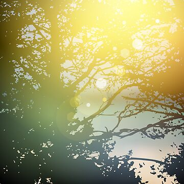 summer design, forest trees, nature green wood sunlight natural green background by EkaterinaP