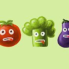 Tomato Broccoli and Eggplant Funny Cartoon Vegetables by Boriana Giormova