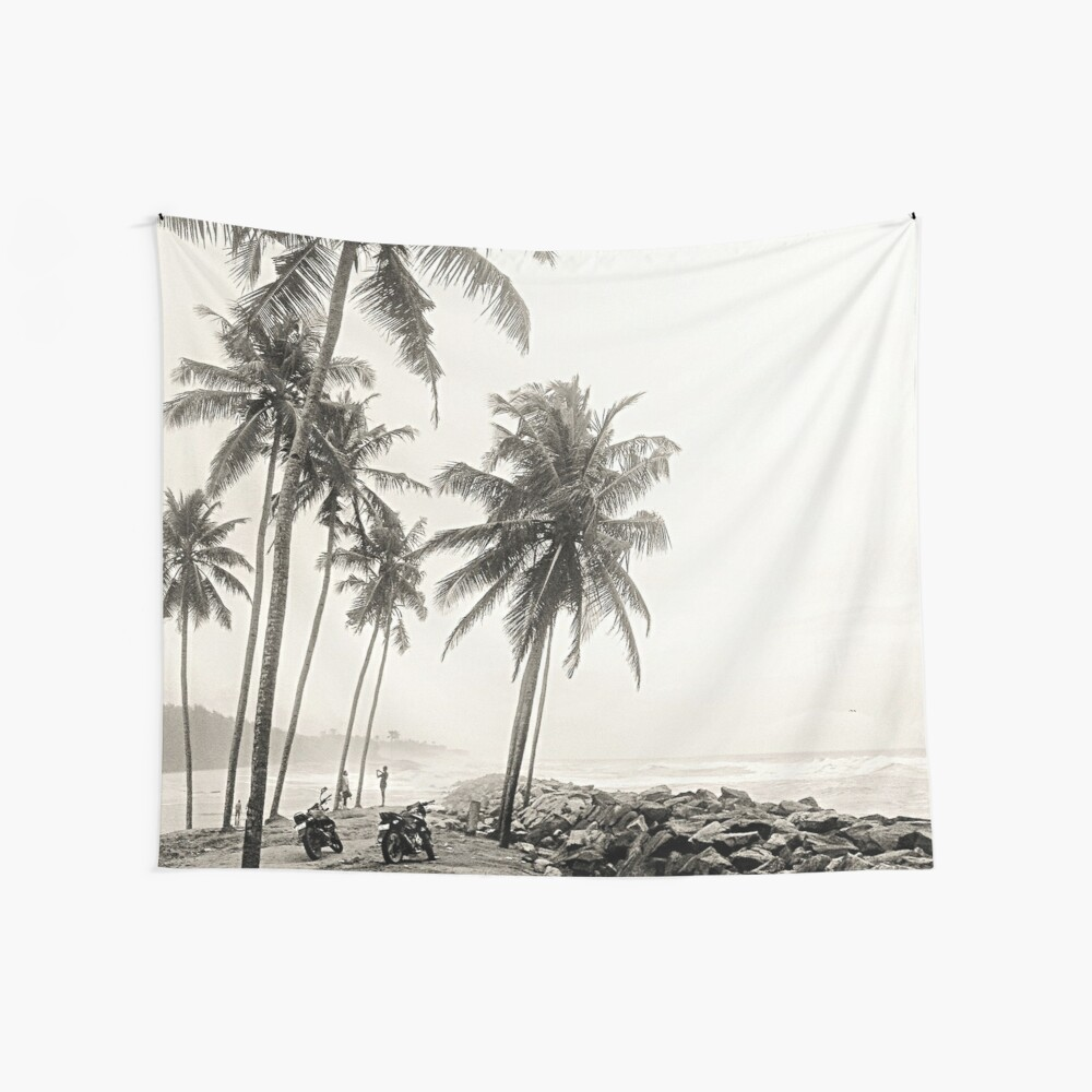 Palm Trees and Motorbikes Wall Tapestry