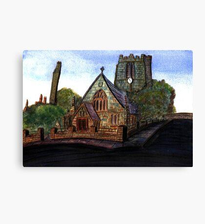 172 - SAINT CUTHBERT'S CHURCH, BLYTH - DAVE EDWARDS - WATERCOLOUR - 2007 Canvas Print