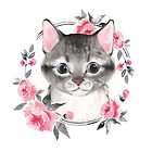 Gray cat with flowers. Watercolor by Gribanessa
