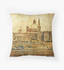 Forgotten Postcard - Valletta, Malta Throw Pillow
