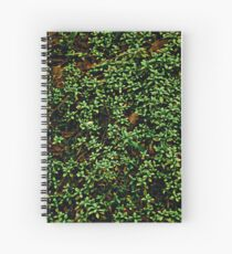 Texture vines with brick wall red bricks climbing green jungle vines and wild plants vintage eroded grunge style urban pattern Spiral Notebook