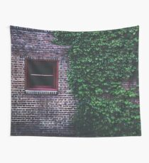 Texture Brick wall red bricks with climbing green vines wild plants and rustic red wooden window vintage grunge style urban pattern Wall Tapestry