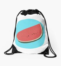 Watermelon illustration Drawstring Bag