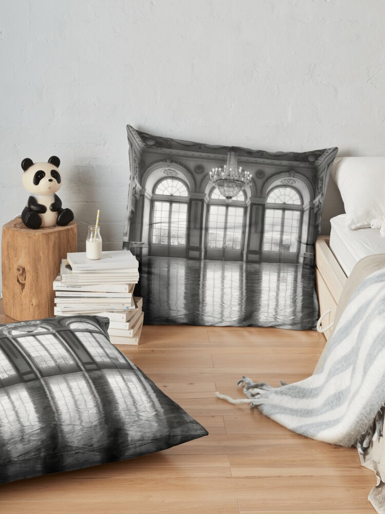 Alternate view of Castle medieval ballroom with high elegant gothic arch windows and royal decoration photo in grayscale Floor Pillow