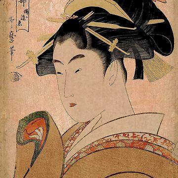 Vintage Japanese Ukiyo-e Woodblock Print Woman Portrait V by VintageArchive
