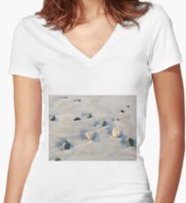 Pebbles on the sand Women's Fitted V-Neck T-Shirt