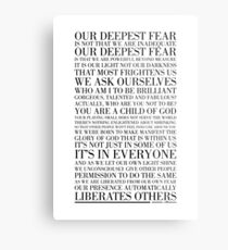 Our deepest fear by Marianne Williamson (Black) Metal Print