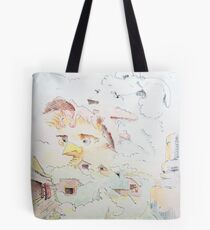 "Life on the Farm - watercolor - 8"" x 10"" Tote Bag"
