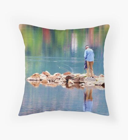 Autumn Fishing Throw Pillow