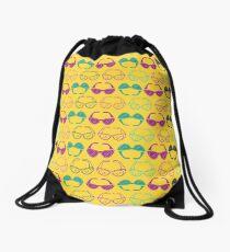 Sunglasses Print - Yellow Drawstring Bag