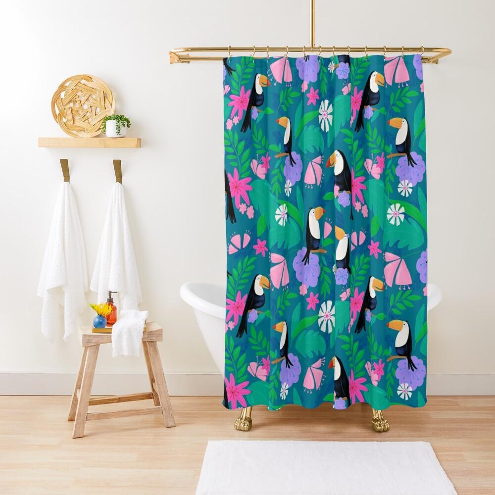 Tropical Toucan Jungle Shower Curtain