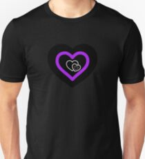 Asexualise Asexual Hearts Asexual Merchandise in Asexual Flag Colours Unisex T-Shirt