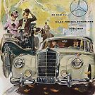 Carl and Bertha Benz encounter a 1950s Mercedes by edsimoneit