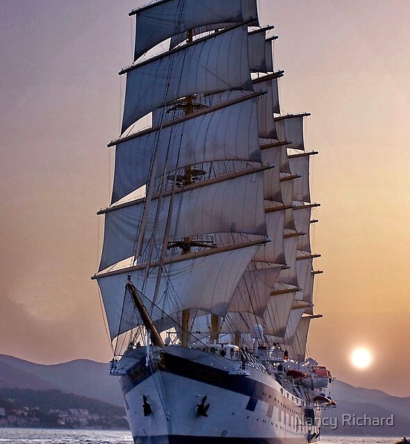 Royal Clipper at dusk  by Nancy Richard