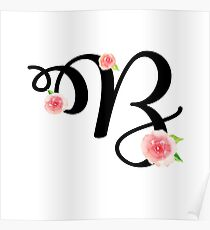 Monogram B with pretty pink roses Poster