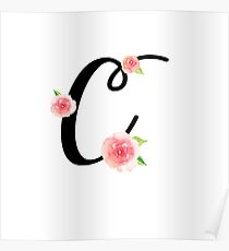 Monogram C with pretty pink roses Poster