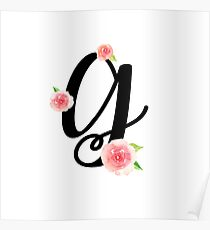 Monogram G with pretty pink roses Poster