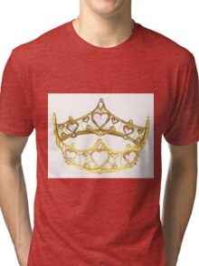 Queen of Hearts gold crown tiara by Kristie Hubler Tri-blend T-Shirt