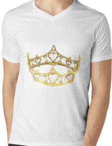 Queen of Hearts gold crown tiara by Kristie Hubler Mens V-Neck T-Shirt