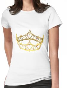 Queen of Hearts gold crown tiara by Kristie Hubler Womens Fitted T-Shirt