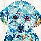 Small Dog Art - Soft Love - Sharon Cummings Artist by Sharon Cummings