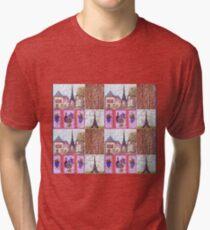Paris Inspired Pointillism Grapes Wine Wood by Kristie Hubler Tri-blend T-Shirt
