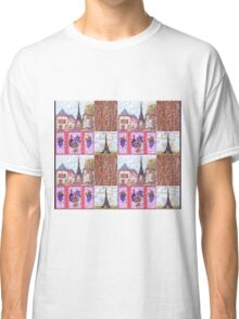 Paris Inspired Pointillism Grapes Wine Wood by Kristie Hubler Classic T-Shirt