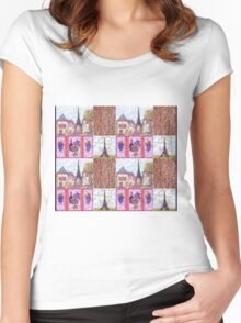 Paris Inspired Pointillism Grapes Wine Wood by Kristie Hubler Women's Fitted Scoop T-Shirt