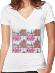 Paris Inspired Pointillism Grapes Wine Wood by Kristie Hubler Women's Fitted V-Neck T-Shirt