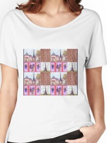 Paris Inspired Pointillism Grapes Wine Wood by Kristie Hubler Women's Relaxed Fit T-Shirt