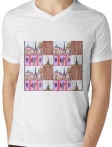 Paris Inspired Pointillism Grapes Wine Wood by Kristie Hubler Mens V-Neck T-Shirt